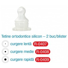 Tetine Ortodontice Silicon curgere lenta -2 buc/blister